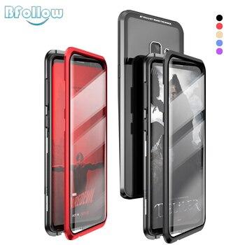 BFOLLOW Front & Back 5D Gebogen Glas Case voor voor Samsung Galaxy S9 Plus/S9 Note 9 Magnetische 360 full Body Aluminium Metal Cover