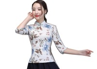 Shanghai Story Half Sleeve chinese Traditional Clothing Women's Chinese Top Blend Linen Blouse Chinese Qipao Shirt