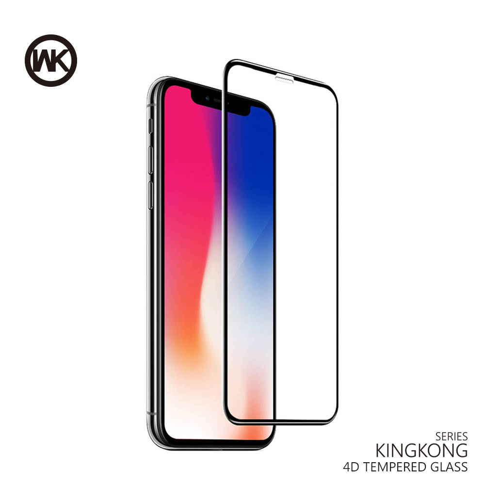 WK DESIGN Tempered Glass For IPhone X 6 7 8 Plus 4D Curved Full Cover Tempered Glass Screen Protector Full Protective Glass Film