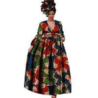 65a7f1819 Woman Dress African Fashion V Neck Casual African Print Dresses A Line  Ankle Length Batik Bazin