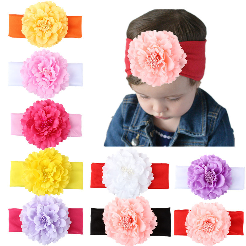 Kids stereoscopic flower Headband Wide Band Hairband Newborn Flowers Head Wrap Elastic Hair Band Accessories Bandeau bebe ML-1 bebe girls flower headband four felt rose flowers head band elastic hairbands rainbow headwear hair accessories
