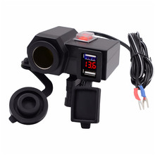 1 pcs 3.1A Motorcycle handlebar USB Charger Vehicle DC 12V-5V Dual Power Socket with  voltmeter and button switch