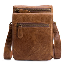 Multi-functional leisure 7 inch leather mobile phone bag men's oil wax leather outdoor leather retro waist small hanging bag