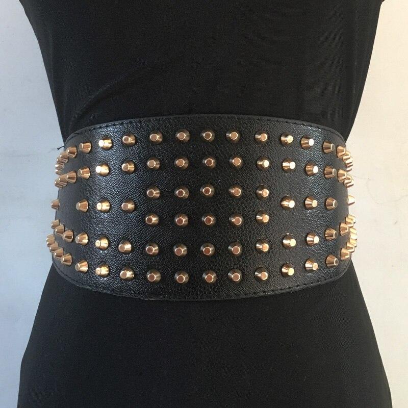 Women's Fashion Gold Punk Rivet Wide Belt  Black Corset Waist Belt  Faux Leather Retro Design Girdle Clothes Accessory