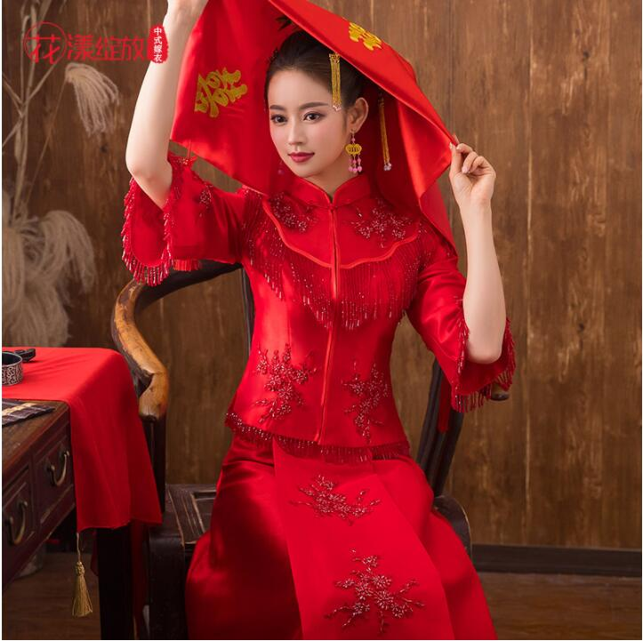 Traditional Show New spring summer clothes bride wedding Gown Robe Chinese style wedding dress show red Hot Womens Cheongsam in Cheongsams from Novelty Special Use