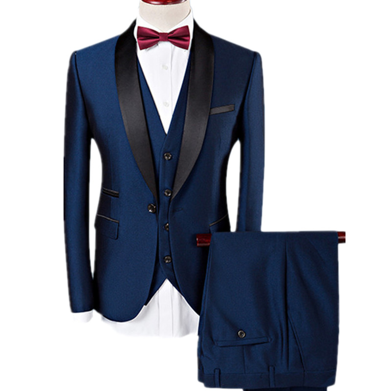 YUNCLOS Mens Suits Slim Fit Tuxedo Shawl Lapel Formal 3 Pieces Suit Wedding Prom Tux Jacket Waistcoat & Trousers