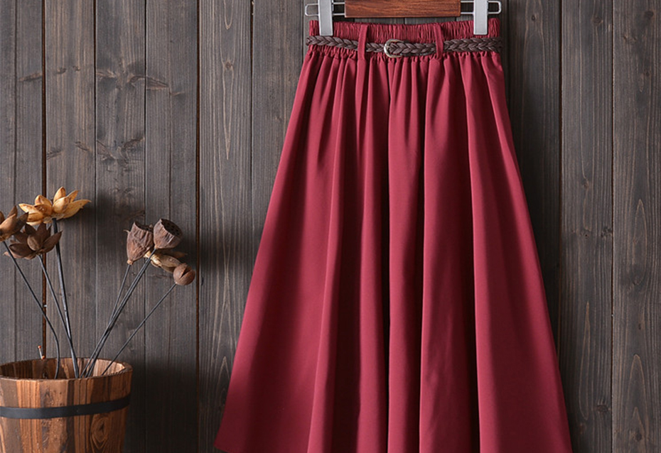 Surmiitro Midi Knee Length Summer Skirt Women With Belt 19 Fashion Korean Ladies High Waist Pleated A-line School Skirt Female 10
