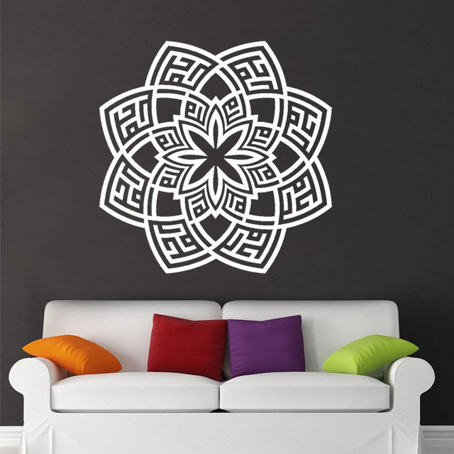 alhamdulillah floral kufic br. white islamic wall sticker for living