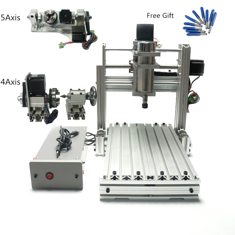5axis USB Port Mini DIY CNC 3020 Pcb Wood Aluminum Engraving Router Mach3 ER11 Collet CNC Milling Machine For Hobby(China)