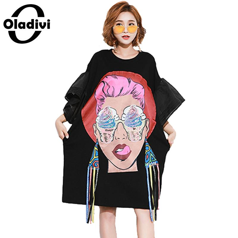 dc63635777a Oladivi Plus Size Women Girl Print Sequins Dress Lady Loose Casual Tassel Dresses  Female Long Top Tee Shirt Tunic Vestidios 2018-in Dresses from Women s ...