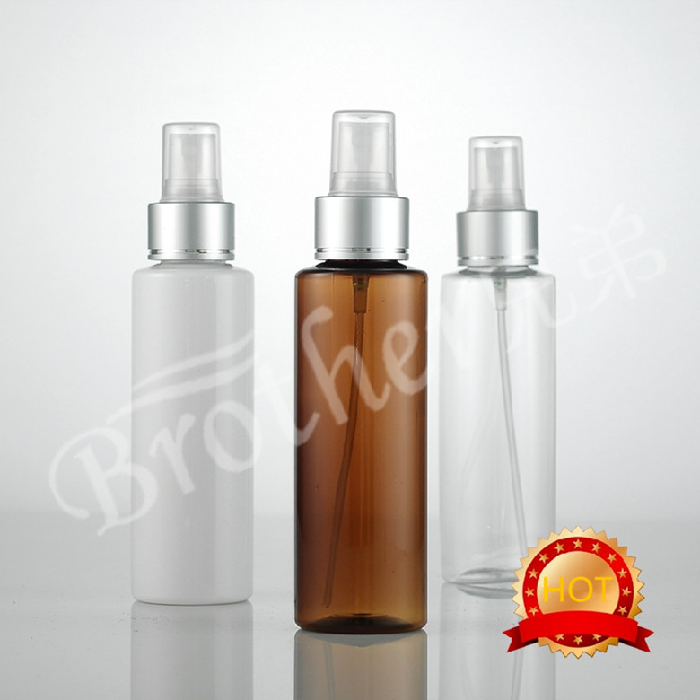 Free shipping 50pcs lot 120ml round plastic spray bottle Aluminum nozzle empty fine mist spray pump