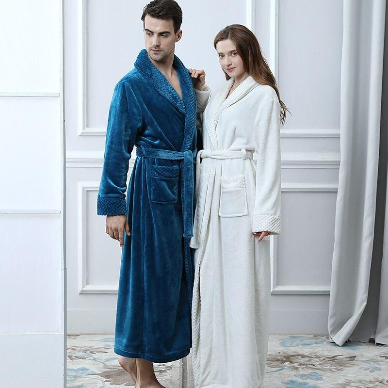 Winter New Coral Fleece Lady Robe Kimono Bathrobe Nightgown Thick Warm Long Sleeve Sleepwear Bath Night Gown