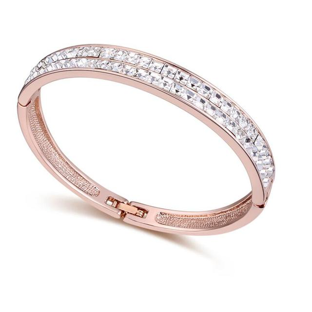 2017 New Arrival Classic Bangle Bracelet For Women Mother's Day Gifts Austria Crystal Brand Jewelry Rose Gold Plated Accessories