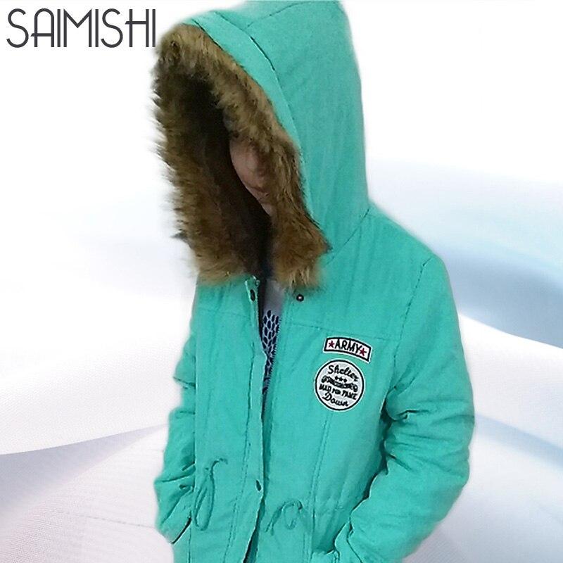 Saimishi Autumn Winter Jacket Women Parka Warm Jackets Fur Collar Coats Long Parkas Hoodies Office Lady Cotton Plus Size winter jackets for women
