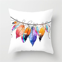 Fuwatacchi Feather Printed Cushion Cover Colorful Floral Printed Sofa Throw Pillow Car Chair Home Decor Pillow Case 2019 New
