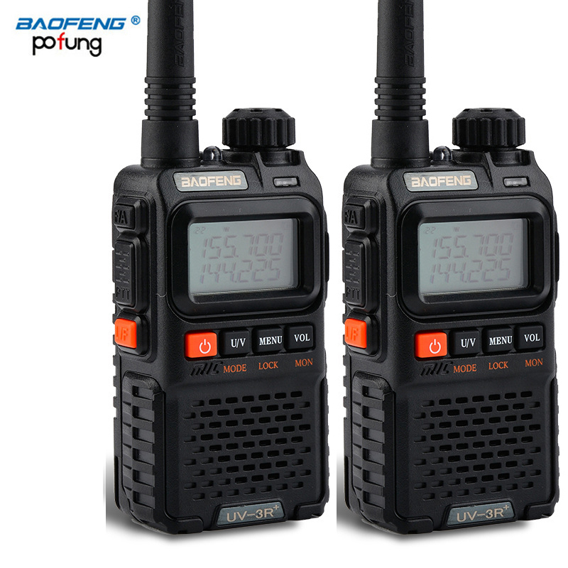 2 PCS Baofeng UV 3R Plus Mini Walkie Talkie CB Ham VHF UHF Radio Station Transceiver Boafeng Amador Communicator Woki Toki PTT-in Walkie Talkie from Cellphones & Telecommunications