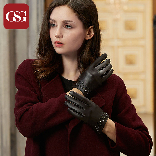 abc26de05bbc5 GSG Women Leather Gloves Mittens Fashion Winter Warm Touchscreen Driving  Gloves Ladies Lined Buckles Rivets Golves for Party