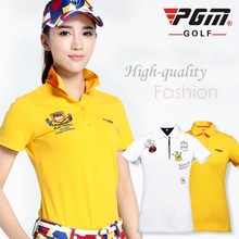 PGM genuine polo shirts golf garments for girls golf shirts fast dry feminine quick sleeve Golf sports activities shirt 2015