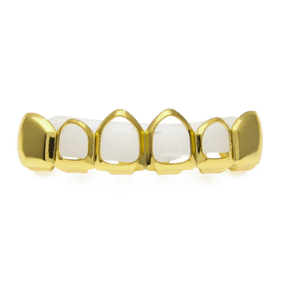 ゴールドカラーボトム下部歯四オープンフェイス歯グリルトップとボトム歯セットシルバーとゴールドトーンヒップホップグリルセット