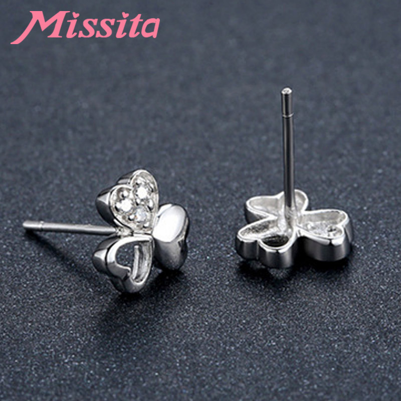 MISSITA 100 925 Sterling Silver Hollow Clover CZ Earrings For Women Silver Jewelry Brand Wedding Stud Earring HOT SELL Gift in Stud Earrings from Jewelry Accessories