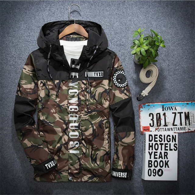 2016 Mens Thin Windbreaker Camouflage Hooded Jacket Quick Dry P6002
