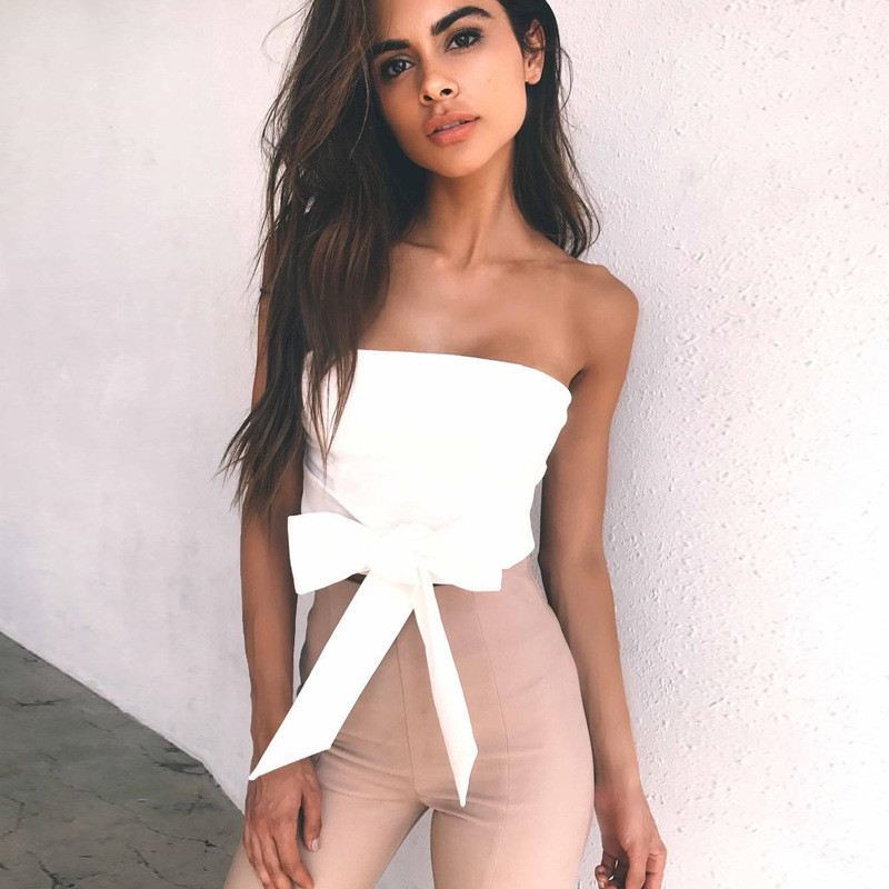 Cncool new bow tie strapless strap sexy women summer tank tops zipper  bandage fashion white crop top female trend out wear tees