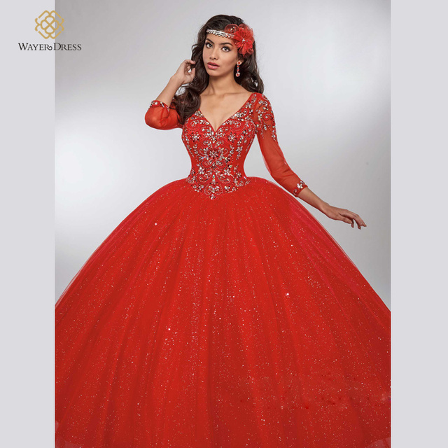 14ffaa8c87 Gorgeous Sparkly Handwork Beaded Red White Coral Quinceanera Dresses Ball  Gowns with 3 4 Sleeves Vestidos De 15 Anos Prom Dress