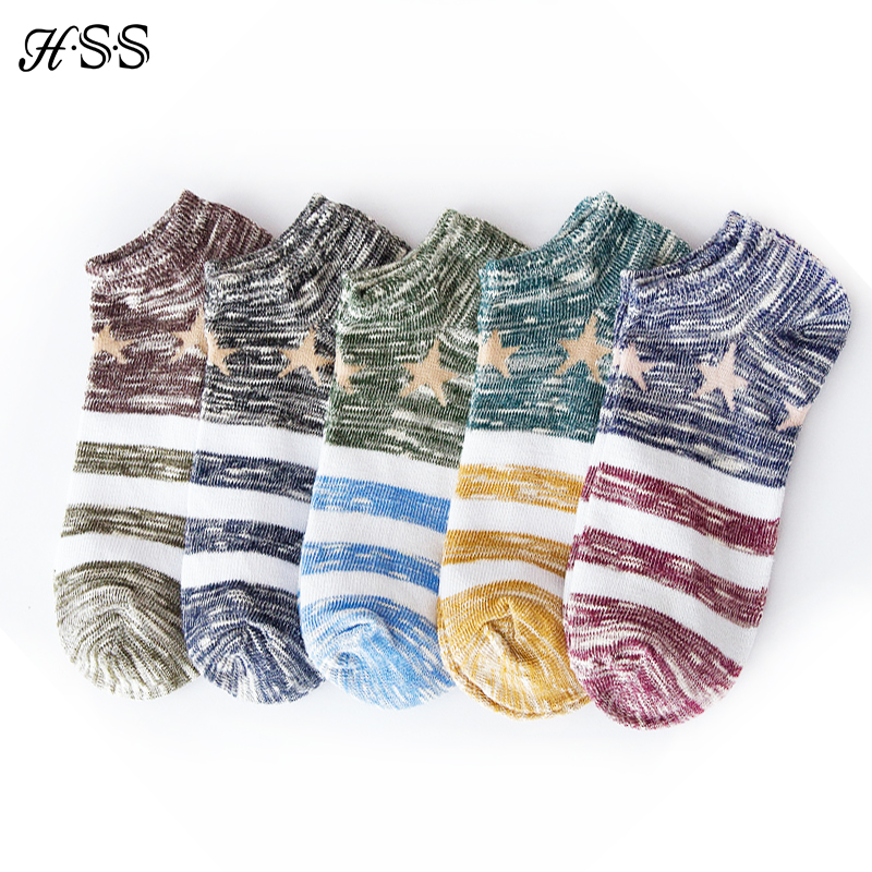 HSS New Brand Spring Summer Retro Stripes Men Socks Jacquard Fight Color Shallow Mouth Wpmen socks High Quality Drop shipping