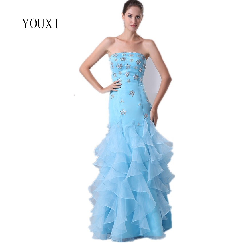 Formal Evening Gowns By Designers: Sexy Strapless Light Blue Organza Mermaid Evening Dresses