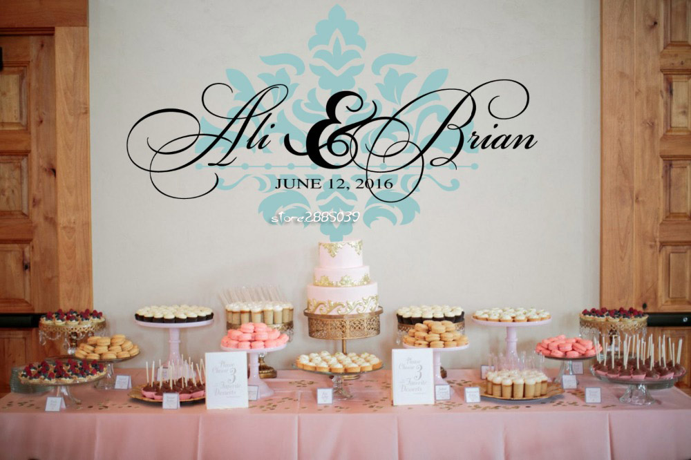 Wedding Reception Waterproof Wall Decal Vinyl Removable Wall Stickers Personalized Names Wedding