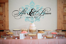 Wedding Reception Waterproof Wall Decal Vinyl Removable Wall Stickers Personalized Names Wedding Wall Decals monogram ZA111C