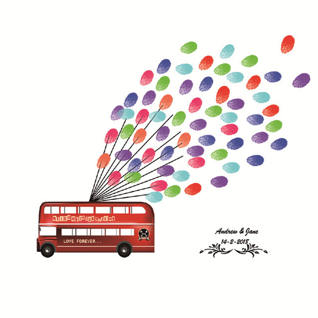 Bus Fingerprint Painting Guest Book Home Decor Wall Art DIY Company Nursery Event Party Anniversary Background Props Supply