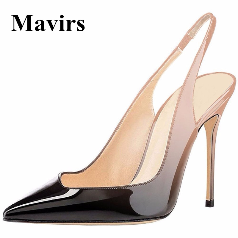 MAVIRS 2018 Sexy Women Pumps Wedding Shoes Point Toe Gradient 10 CM Stiletto Super High Heels Patent Ankle Strap Slingback italian patent leather shoes women wedding shoes super high heels designer luxury brand gold silver sexy pumps stiletto tacones