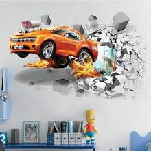 3122c0929b45a 1 pc Creative Football 3D autcollants muraux Basket-Ball Cassé Mur  autocollant artistique Voiture affiche murale Chambre D'enfan.