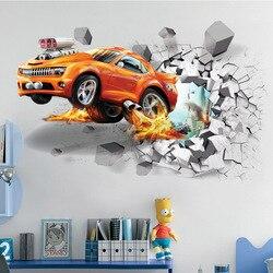 1pc Creative Football 3D Wall Stickers Basketball Broken Wall Art Decal Car Wall Poster Kids Room Decoration Boys Favors