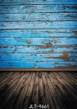 Vinyle tissu 3d photographie décors en bois plancher bleu vieux mur en bois Photo fond personnaliser pour Photo Studio Photophone