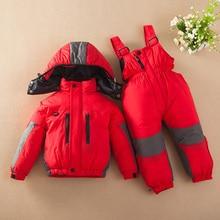 Winter Down Jackets Boys Girls Kids Active Snowsuit Children Clothes Warm Jacket Toddler Outerwear Coat+Pant Clothing Set Jumpsu
