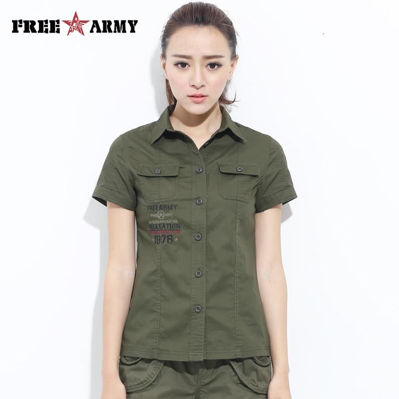 Freearmy Brand Short Tee   Shirt   Top Women   Shirt   Military Army Green 2018 Women's   Blouse     Shirt   Twill Cotton Turn Down Collar Tops