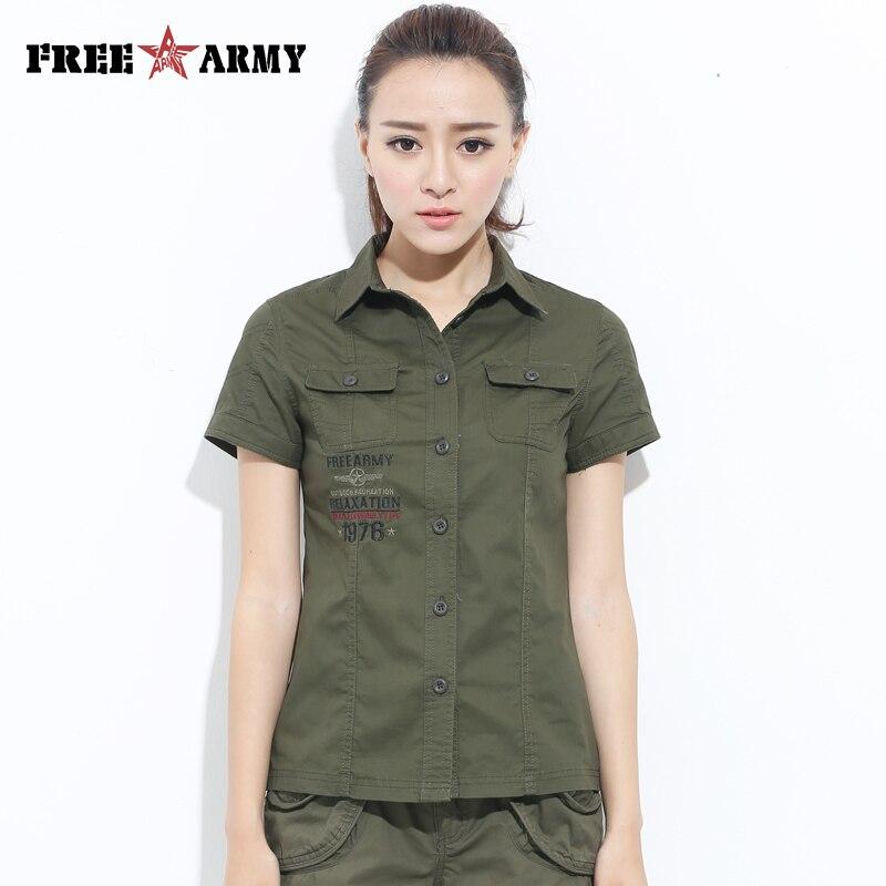 lo último 65868 ef419 Freearmy marca camiseta corta Camiseta Top mujer camisa militar verde 2018  blusa mujer camisa sarga algodón Turn Down collar Tops