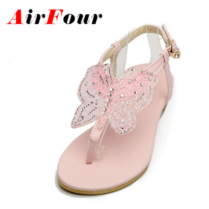 ФОТО Airfour Summer Sandals New Fashion Casual and Rhinestone Comfortable Flats Shoes Buckle Simple T strap Platform Sandals Women