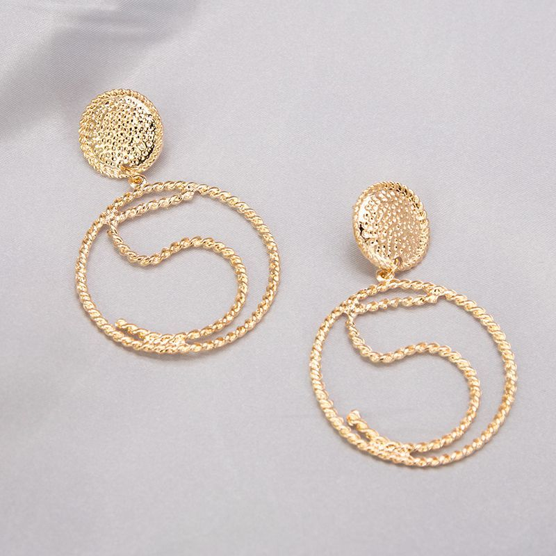 New Arrivals Trendy Simple Gold Color Hollow Circle Word 5 Big Round Drop Earrings For Women Minimalist Jewelry Pendientes