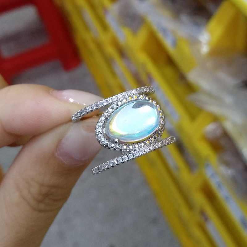 FUNIQUE 1pc แฟชั่นไม่สม่ำเสมอมูนสโตนธรรมชาติแหวนผู้หญิง Rose Gold แหวนคริสตัลงานแต่งงาน 2018 Bijoux แหวนเครื่องประดับ