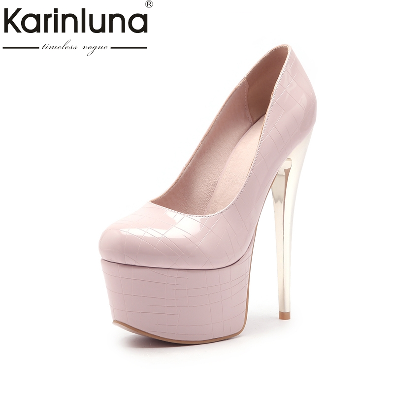 KarinLuna 2018 large size 33-44 dropship office lady super thin high heels pumps shoes women platform party wedding pumps цена