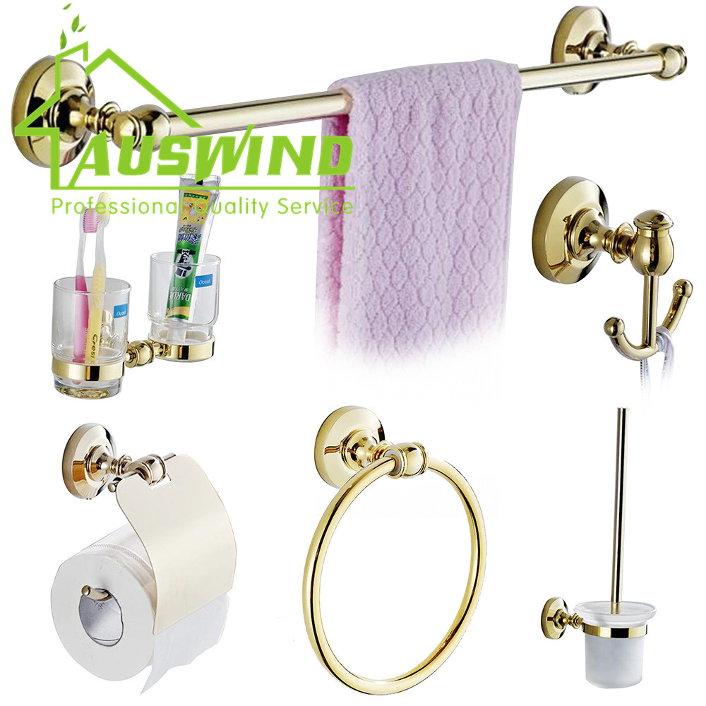 Antique Gold Polished Bathroom Accessories Sets Solid Brass Round ...