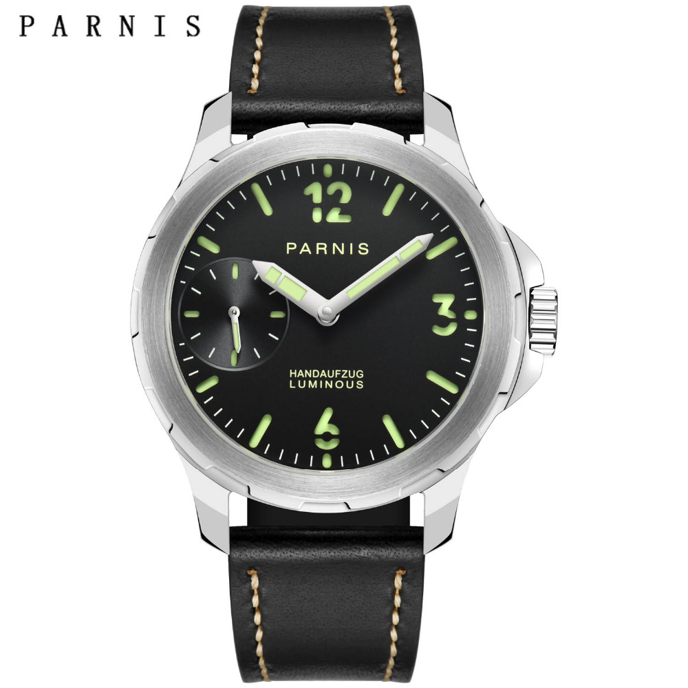 Casual Watch Men 40mm Parnis Hand Winding Black Dial Stainless Steel Mechanical Watches