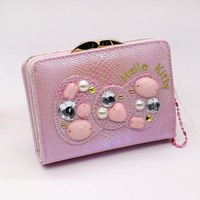 Hello kitty cartoon long women wallets pink purse wallet PU material Cartoon standard wallet hasp wallet female Famous brand