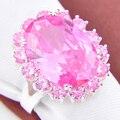 Joyería de la promoción Lucky Shine fuego completo Kunzite rosado de plata plateó los anillos de bodas rusia ee.uu. regalo de vacaciones Australia anillos