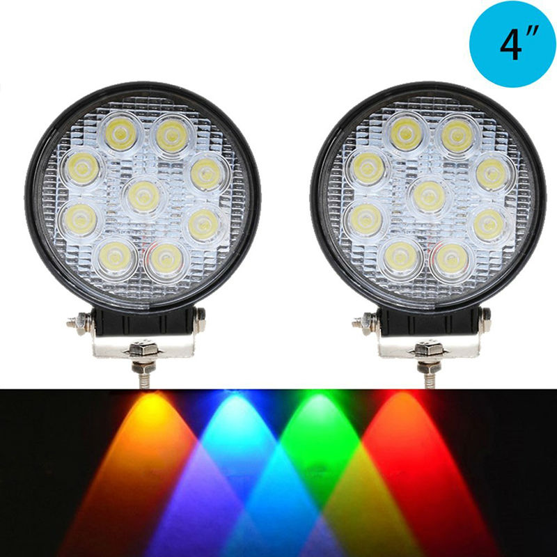 27W Spot Red Amber Yellow Blue Green Round Work LED Light Fog Offroad Off Road Lights Lámpara de conducción Impermeable para camioneta