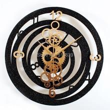 fashion creative metallic europea gear wall clock rotation time retro watches clocks black u0026 gold free