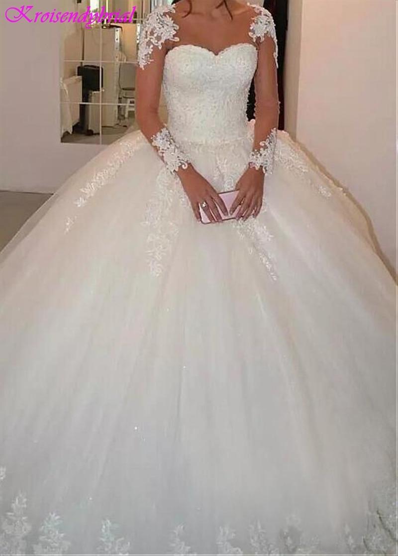 QFS031 Vestidos De Noiva Custom Made Long Sleeves Wedding Dresses Ball Gowns robe de mariage Modest
